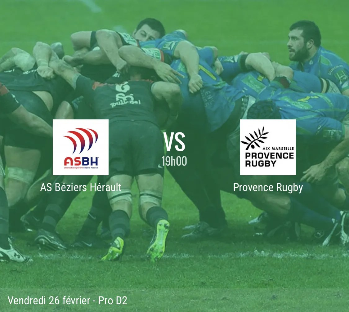 Rugby Pro D2 : Béziers – Provence Rugby en direct