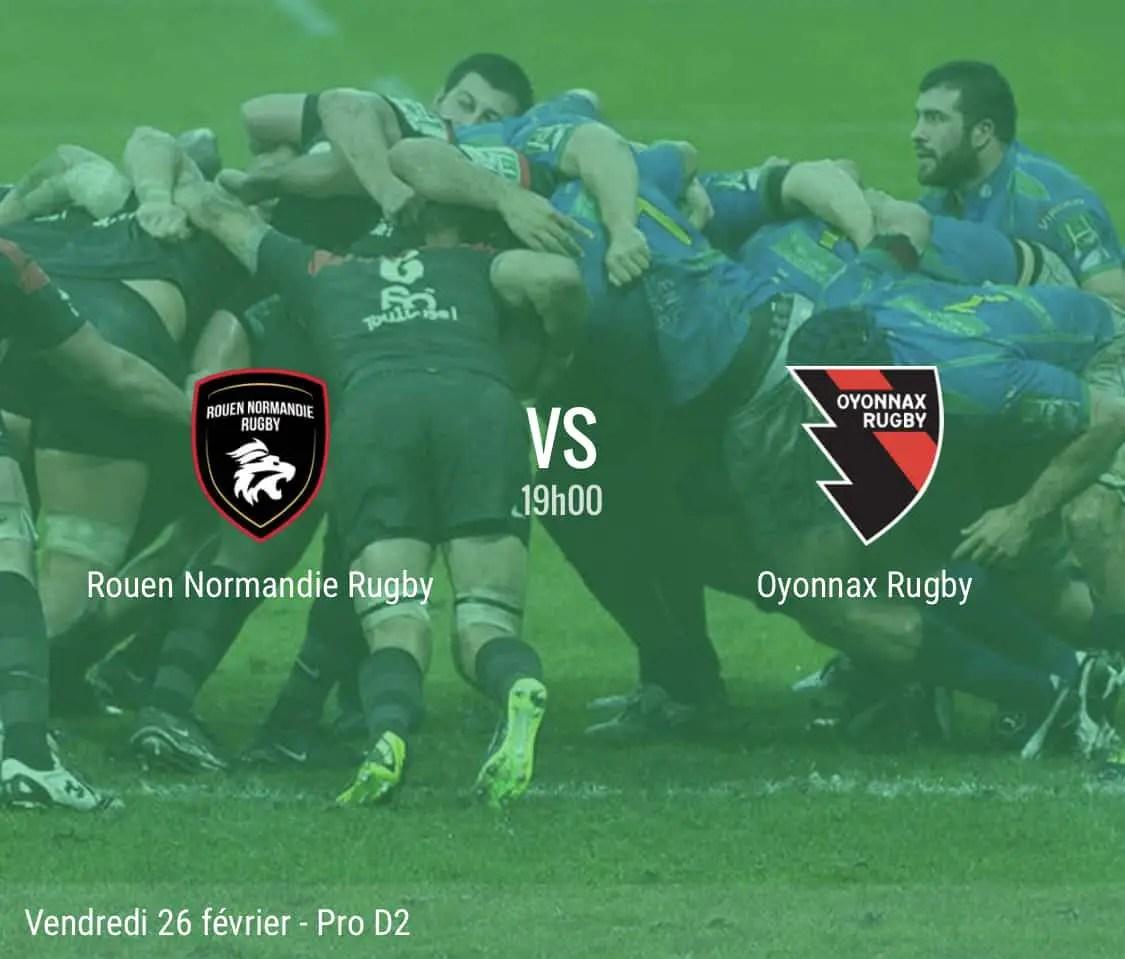 Rugby pro D2 : Rouen – Oyonnax en direct
