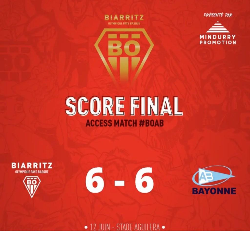 Barrage Top 14/Pro D2: Biarritz crucifie son rival basque Bayonne aux tirs au but et retrouve l'élite