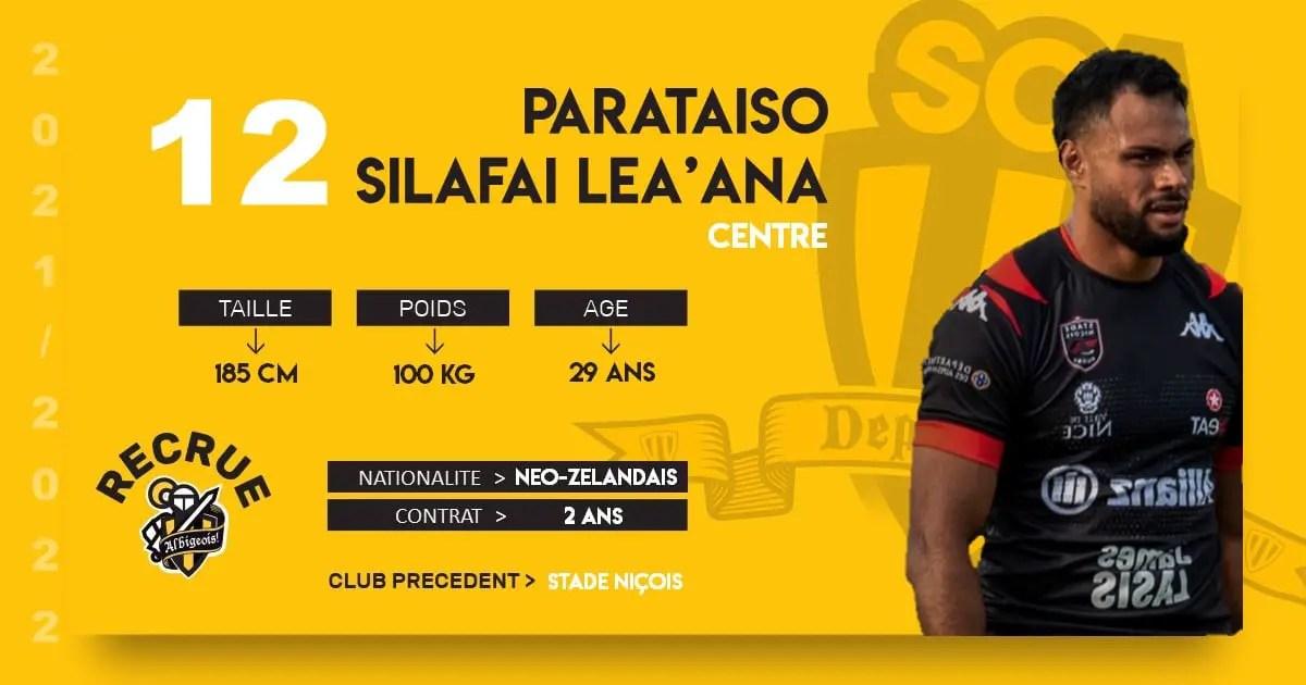 Rugby-Nationale: Albi recrute le centre niçois SILAFAI LE'ANA.