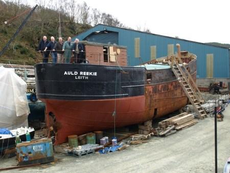 Freshly painted starboard stern