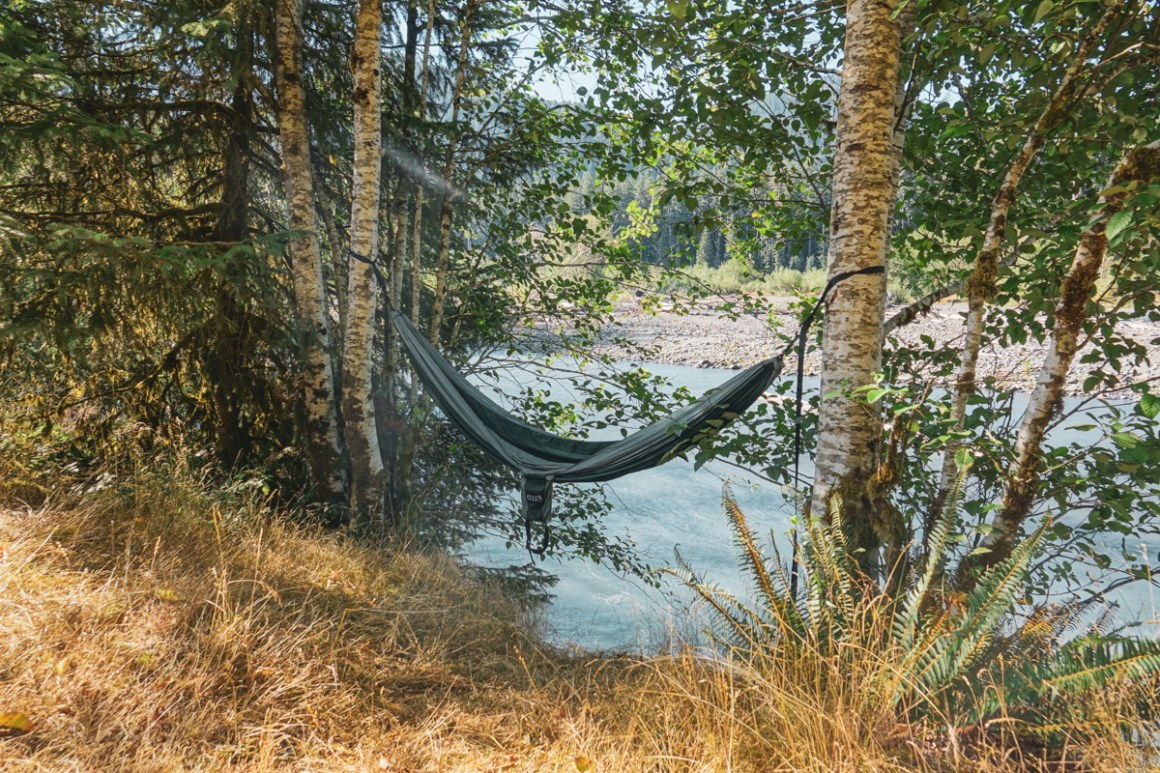 Our hammock at our Hoh Campground spot