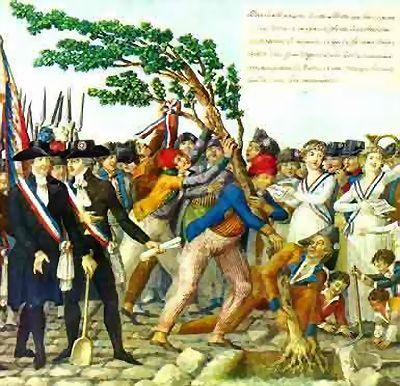 Het planten van de Vrijheidsboom in 1795 om het begin van de Bataafse Republiek te vieren door mannen die gekleed gingen als sans-culottes.