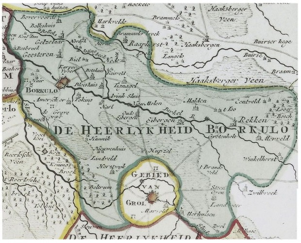 Kaart van de omgeving van Groenlo, 1741