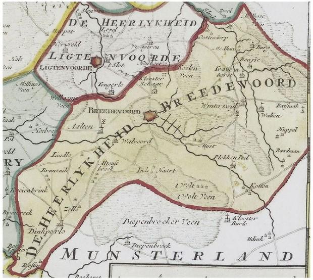 Heerlijkheid Bredevoort, kaart uit 1741 van Isaak Tirion en Jacob Keyser