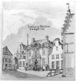 Bastenshoekhuis. Gezicht op het Raadhuis van Doetinchem, Jan de Beijer 1743.