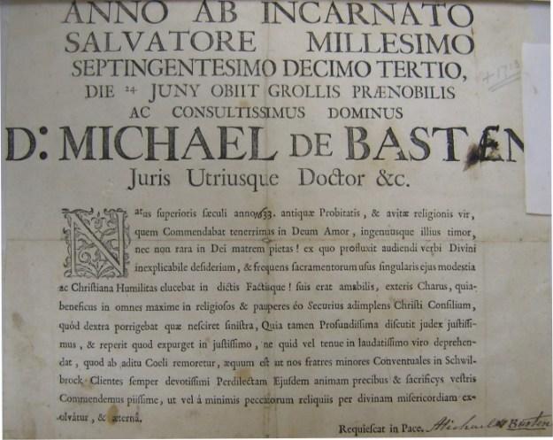 Overlijdens bericht Michael van Basten uit 1633