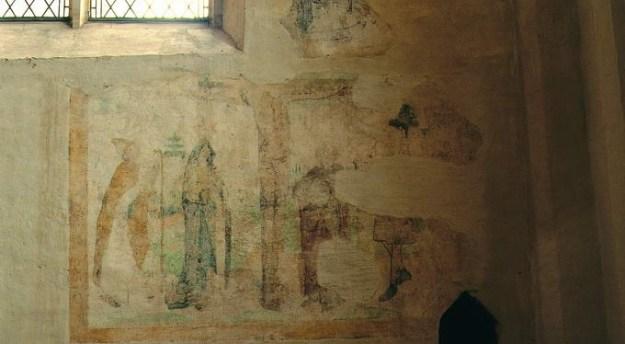 stichtersvoorstelling met kruisigingsschildering boven het fundament van het altaar van de Vicarie Sancti Nicolai, op de oostwand van de zuidelijke zijbeuk, vroeg zestiende eeuw, St. Jacobskerk te Winterswijk.