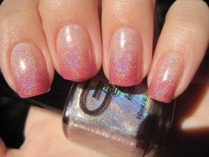 Glittery Pink Tip with Nude base nail color