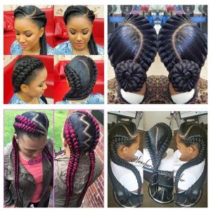 I love these double braid styles the color added is so cute too.