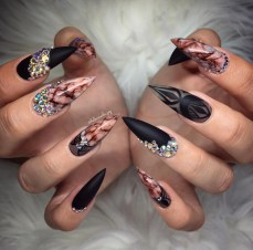 Black and brown stiletto acrylic nails