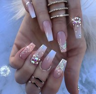 Tan and white ombre diamond shaped nails