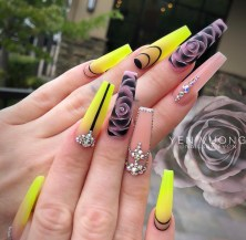 Neon yellow and flower acrylic coffin nail design