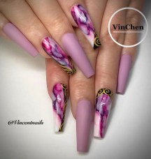 Coffin shaped nail designs