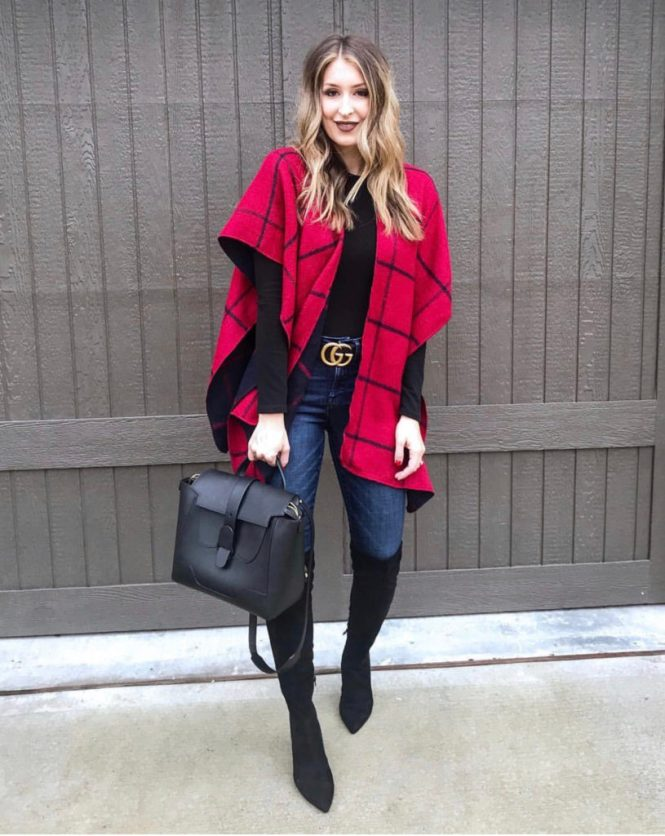 Styling a red plaid poncho Street Style