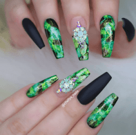 Money Green and black nail designs perfect for summer