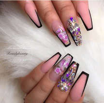 Nude and rose coffin shaped nail designs