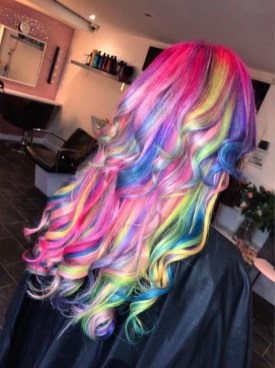Pink Dyed rainbow hair color