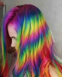 Vibrant Colorful Rainbow hair Dye
