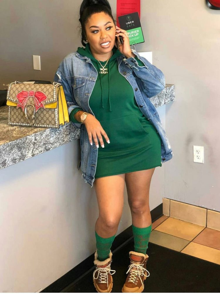 Stylish Woman in Green Hoodies Dress with Denim Jacket Vicariously Me Fashion Friday Street Style