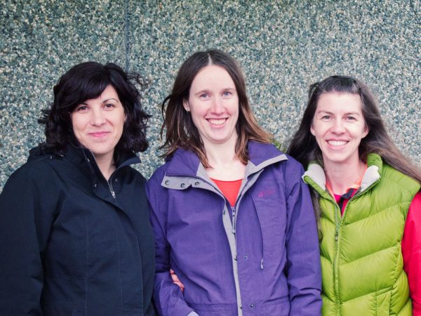 Laura, Lindsay & Jen - cold and bedraggled after a long, wet car seat clinic!