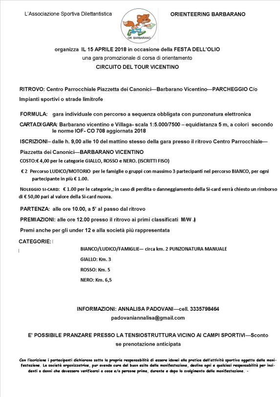 Volantino 15 Aprile 18 Senza Sfondo Fiso Vicenza Orienteering