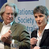Photo taken of Professor A. C. Grayling and Meredith Doig at April 2017 CAHS Australian Humanist Convention in Melbourne.