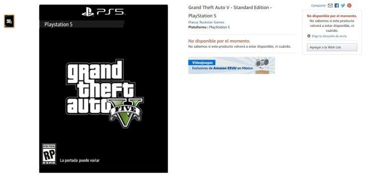Grand Theft Auto 5 para PS5 é listado na Amazon.