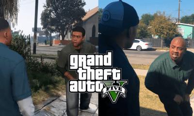 Os atores de Lamar e Franklin de GTA 5, Slink Johnson e Solo Fonteno respectivamente, decidiram recriar a famosa cena viral.