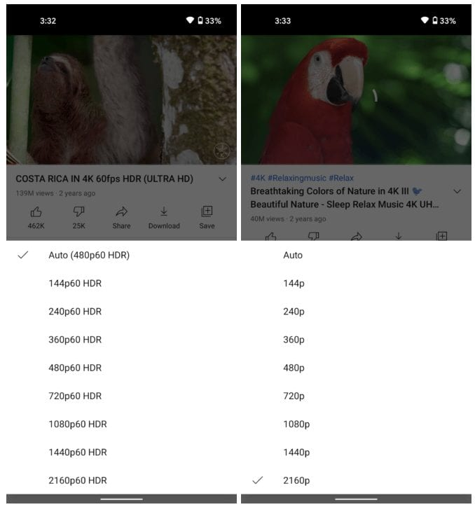 YouTube no Android recebe suporte a 4K e HDR.