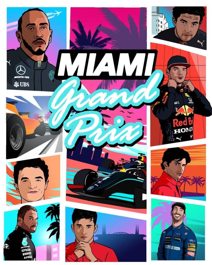 Imagem divulgada no perfil da Formula 1 com inspiração em Miami, principal cidade que aparece nos rumores de GTA 6.