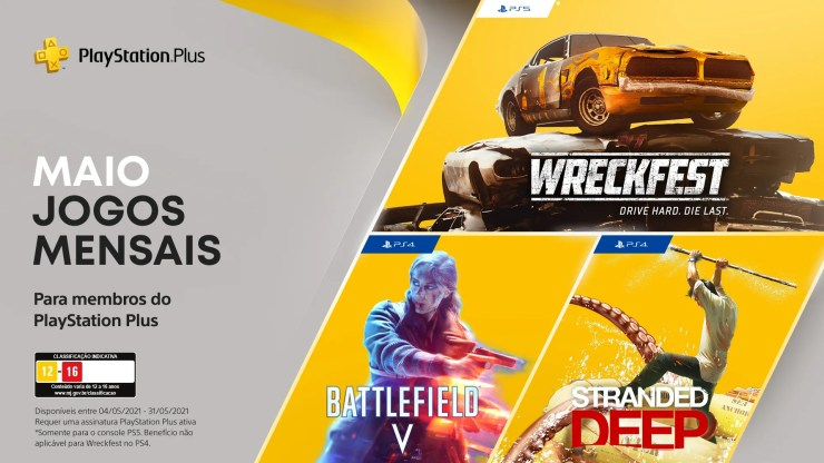 No mês de Maio os jogadores assinantes de PS Plus receberam Stranded Deep, Battlefield 5 e Wreckfest para PS4 e PS5!