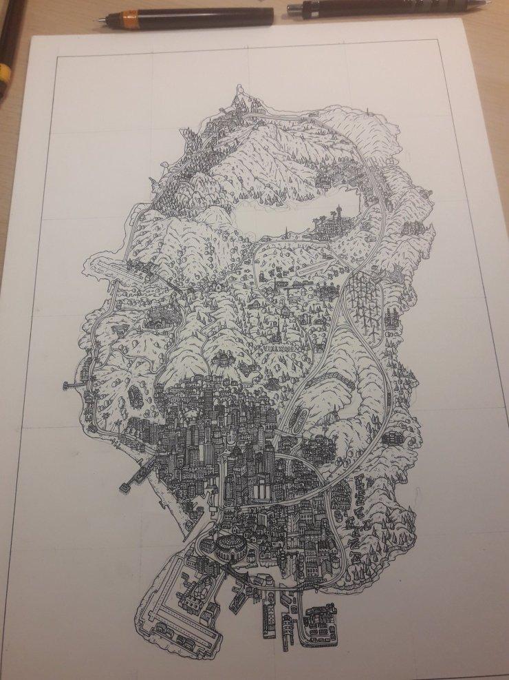 Mapa de GTA 5 desenhado à mão por RaisonPablo.
