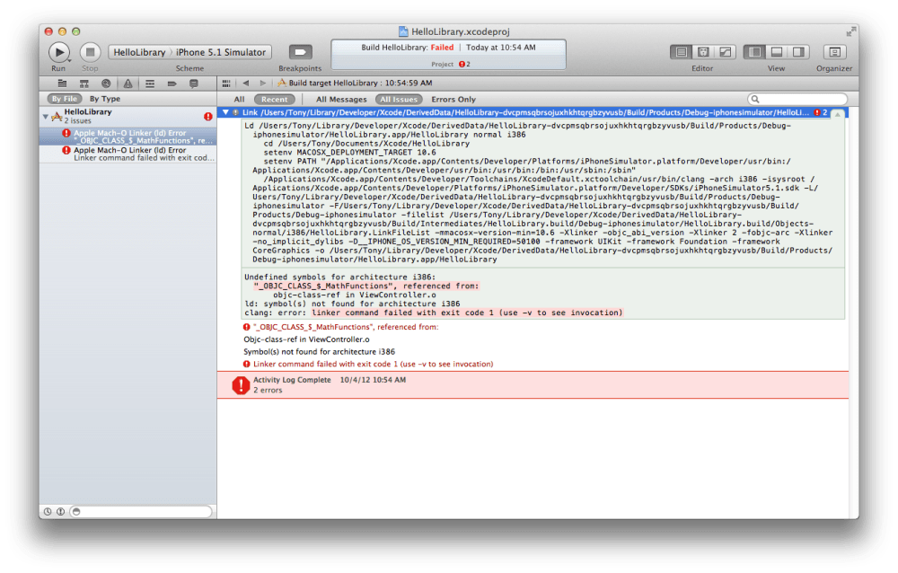 Linking an iOS Static Library Project in another Project in Xcode 4.3.2 (5/5)