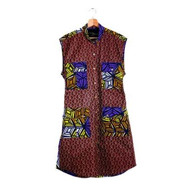 African print sleeveless shirt dress VDSCV21