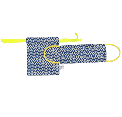 Mascherina a Soffietto Elastici Colorati MS029 + Pochette Portamascherina PM030
