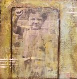 Mixed media 8x10 canvas, encaustic on top. My Dad at age 3 (1936)