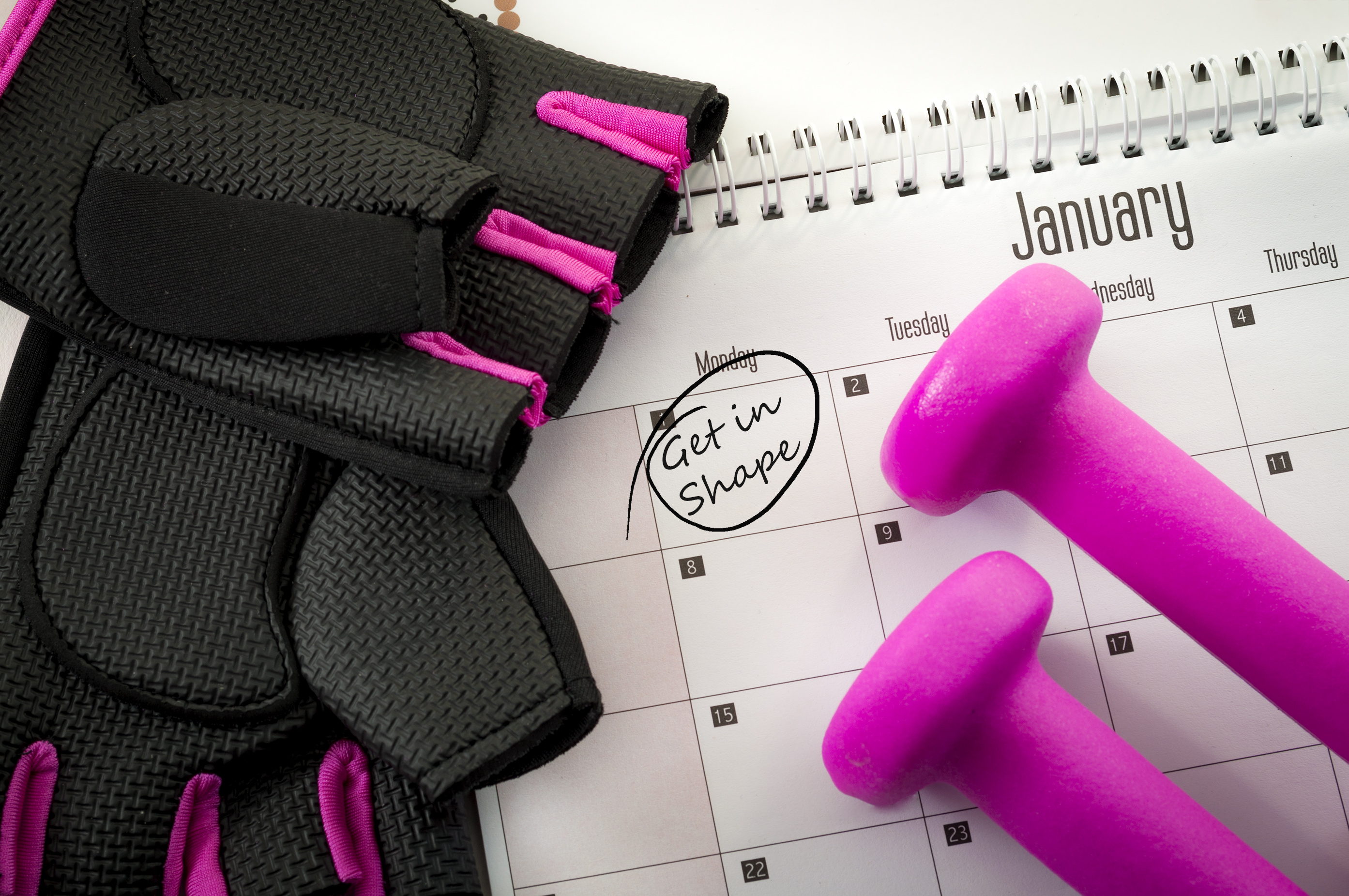 Doe 2014-2019 Calendar New year resolution and the desire to get in shape concept with a