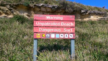Marley Beach: Unpatrolled Beach Warning Sign