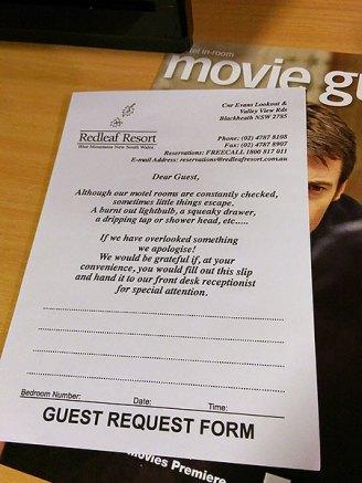 Redleaf Resort Blackheath: Guest Request Form