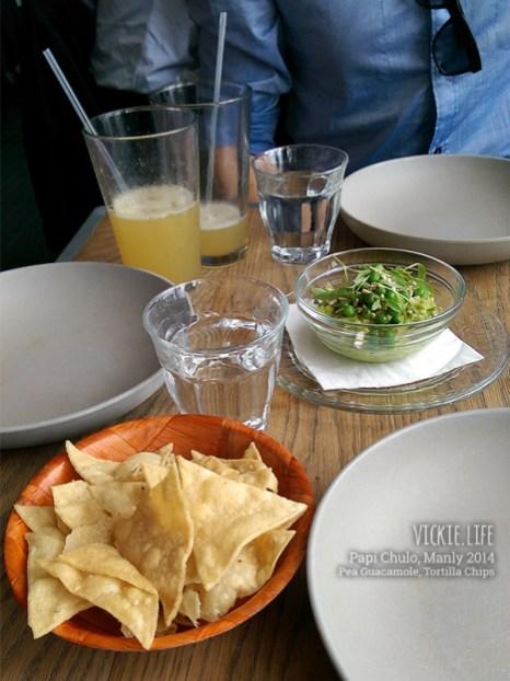 Papi Chulo: Pea Guacamole, Tortilla Chips