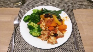 Chicken Casserole Dinner and Vegetables