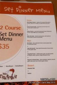 The Raw Prawn, Cairns: Set Dinner Menu
