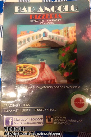 Bar Angolo Pizzeria, Top Ryde, June 2015: Menu Cover