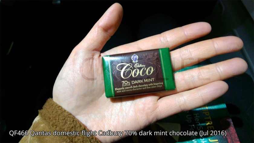 QF466 Qantas domestic flight dark chocolate