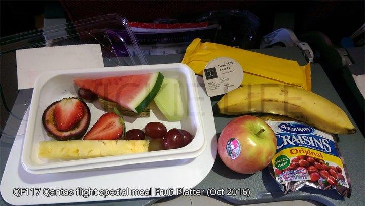 QF117 Qantas special meal Fruit Platter