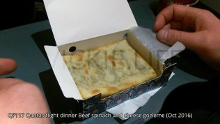 QF117 Qantas flight dinner: Beef, spinach and cheese gozleme