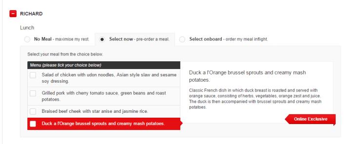 QF117 Qantas Q-Eat online pre-selections