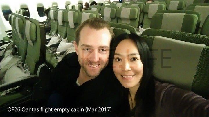 QF26 Qantas international flight: very empty cabin!