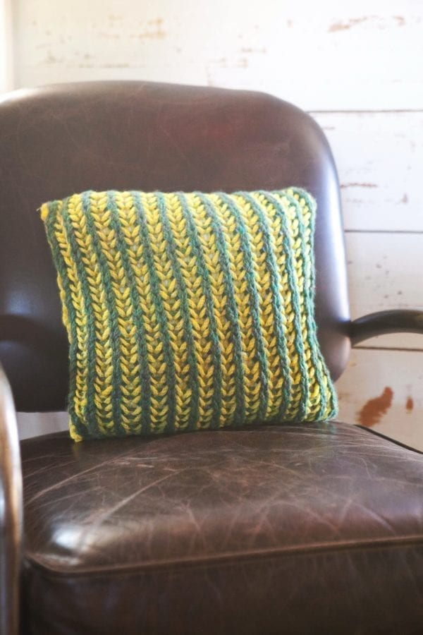 Bi-Color Brioche Pillow, by Vickie Howell | Get the pattern and learn the stitch pattern!